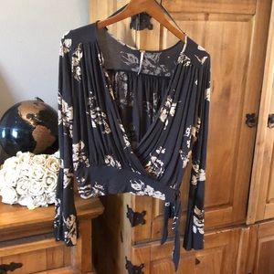 Free People Bell Long sleeves Wrap Top